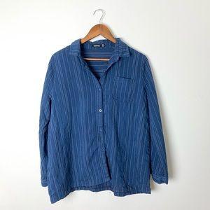 BOOHOO Blue Striped Button Up Long Sleeve Pj Top
